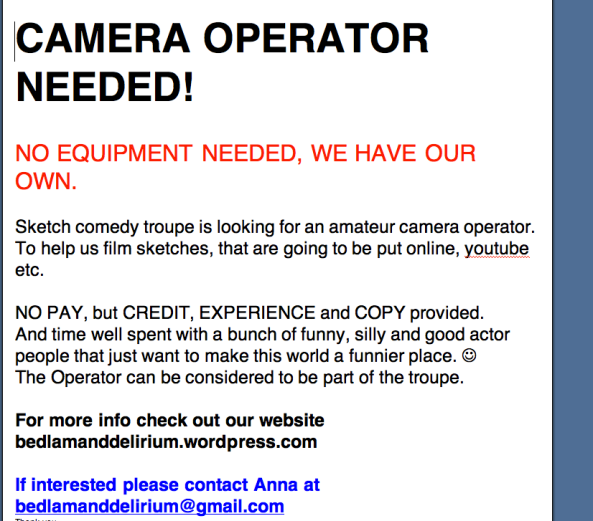 Looking for camera operator